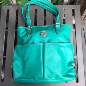Green leather Relic bag